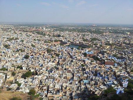 Jodhpur, City, India, Rajasthan, Blue, Building