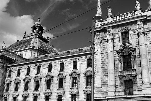 Munich, Old Town, Black And White, Sw, Facade, Building