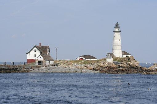 Lighthouse, Boston, Harbor, Ocean, Coast, Island, Sky