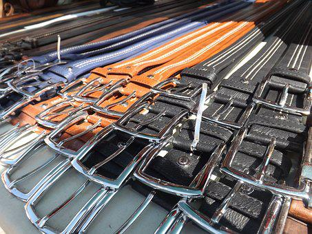 Belts, Market, Stall, Fashion, Leather, Buckle