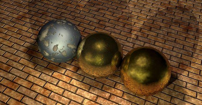 Balls, Metal, Iron, Texture, Grooves, Stones, Mirroring