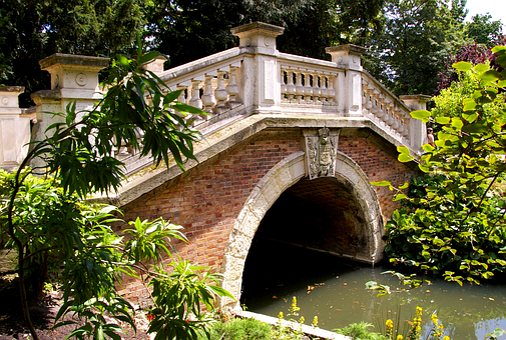Bridge, Park, Water, Nature, Landscape, Green, Pond