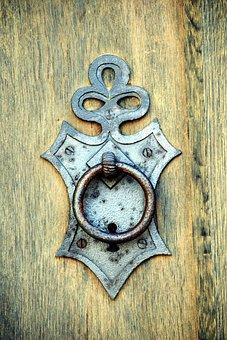 Thumper, Door, Handle, Old, Doorknocker, Wood