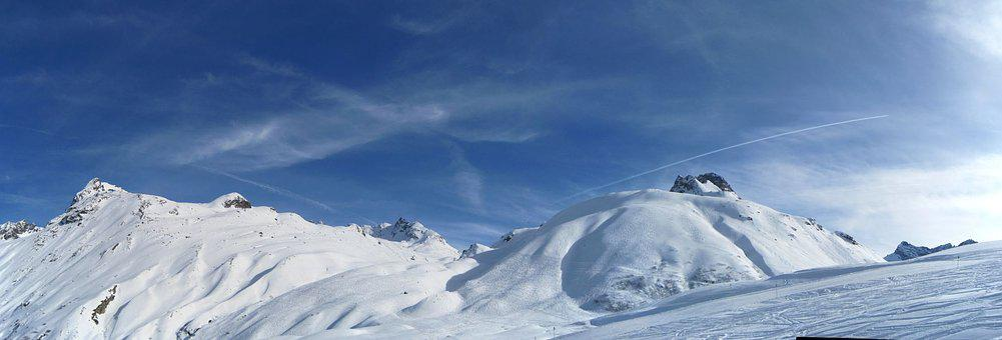 Winter, Blue Sky, Panorama, Mountains