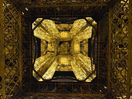 Paris, Eiffel Tower, Perspective, France, Lights