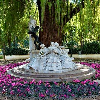 Seville, Monument, Roundabout, Park, Poetry