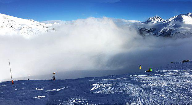 Ski Run, Ski Area, Skiing, Winter Sports, Clouds, Blue