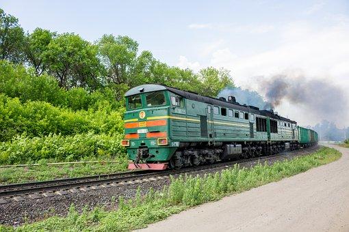 Train, Motion, Smokes, Locomotive, Green, Rails, Iron