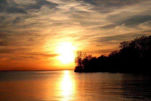 Sunset, Water, Lake, Sky, Beach, Landscape, Travel