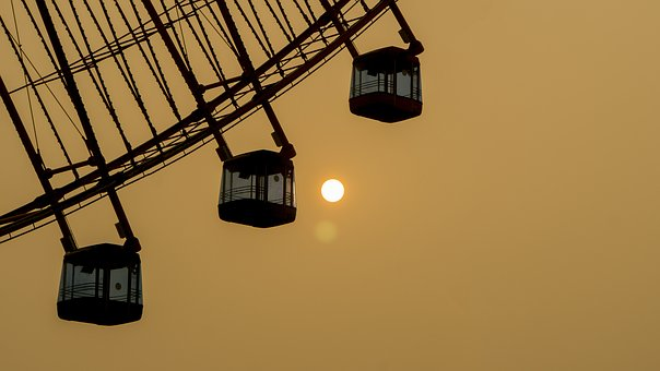 The Ferris Wheel, Sunset, Twilight, The Scenery