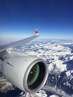 Plane, Swiss, Alps, Snow, Switzerland, Europe