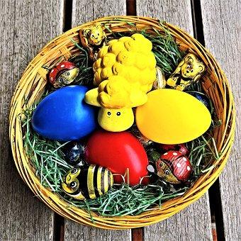 Easter, Easter Nest, Basket, Easter Eggs, Colored