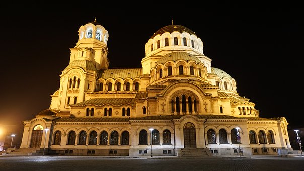Sofia, Bulgaria, Cathedral, Night, Orthodox, Christian