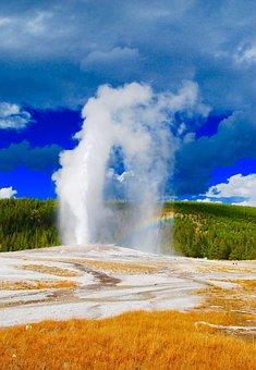Geysir, Old Faithful, Aspen, Mountains, Yellowstone
