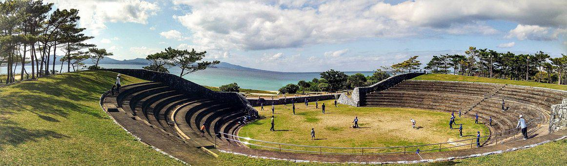 Amphitheatre, Baseball, Boys, Sea, Grass
