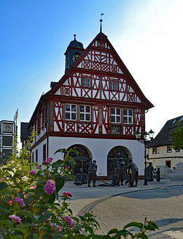 Groß-gerau, Hesse, Germany, Town Hall, Old Town, Truss