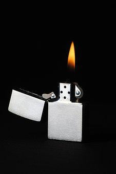 Lighter, Flame, Heat, Black, Studio, Warm, Light, Zippo