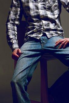 Man, Fashion, Shirt, Checkered, Jeans, Squat, Sitting