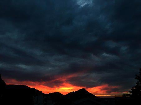 Sunset, Red, Orange, Dark Sky, Dark Clouds, Cauldron