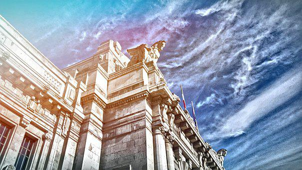 Railway Station, Milan, Sky, Hdr, Central Station