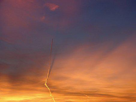 Evening Sky, Aircraft, Contrail, Shadow, Flyer, Sunset
