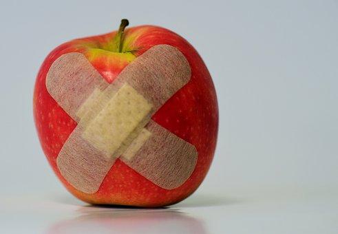 Apple, Patch, Injured, Association, Fruit, Food