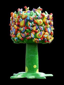 Bird Tree, Sculpture, Birds, Art, Artwork, Outside Art