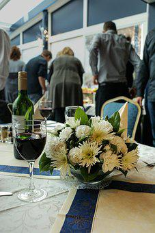Buffet, Party, Flowers, Table, Wine, Neat, Chic