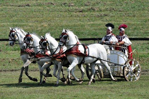 Biga, Lipizzaner, Four Teeth, Roman, Horses, Cart