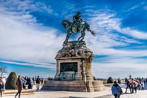 Budapest, Castle, Statue, Blue, Horse, Rider