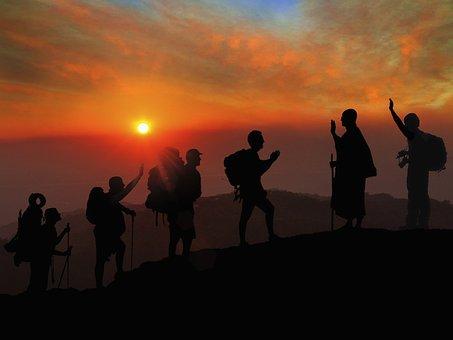 Sunset, Hiking, Greetings, Namaste, Adventure, Travel