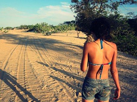 Girl, Natural, Sand, Teenager