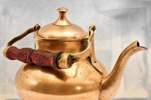 Teapot, Brass, Pot, Tee, Tableware, Teatime, Drink