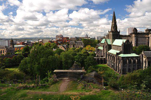 Glasgow, The Cathedral, Church, Gothic, Tourism, Clouds