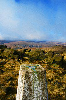 Trig Point, West Nab Yorkshire, Marsden Moor, Moorland