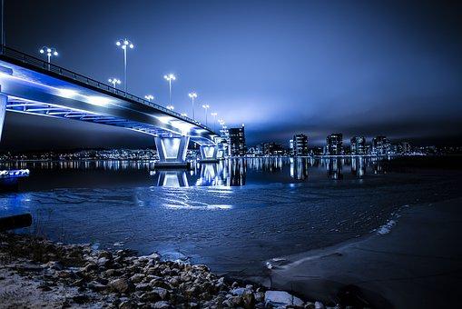 Architecture, Blue, Blur, Bridge, Buildings, City