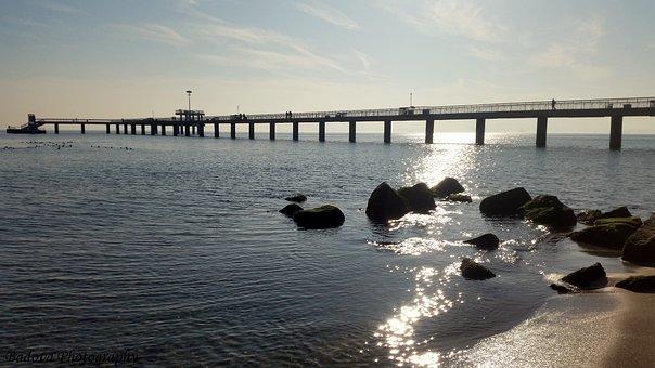 Sea, Landscape, Bridge Burgas, Nature, Sky, Beach
