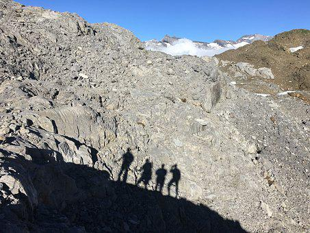 French Alps, Hiking, Mountains, Shadow, Team