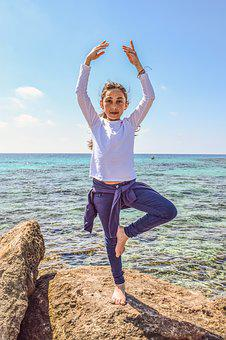 Girl, Sea, Horizon, Nature, Exercise, Leisure, Harmony