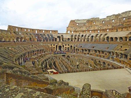 Colosseum, Rome, Italy, Architecture, Roman