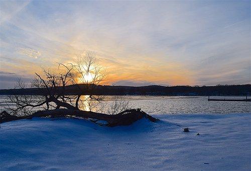 Sunset, Snow, Lake, Tree, Silhouette, Winter, Nature