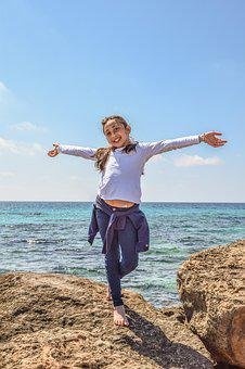 Girl, Sea, Horizon, Joy Of Life, Nature, Relax, Leisure