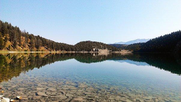 Lake, Montana, Mountains, Landscape, Water, Summer