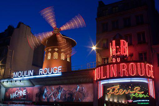 Moulin Rouge, Paris, Night, Lights