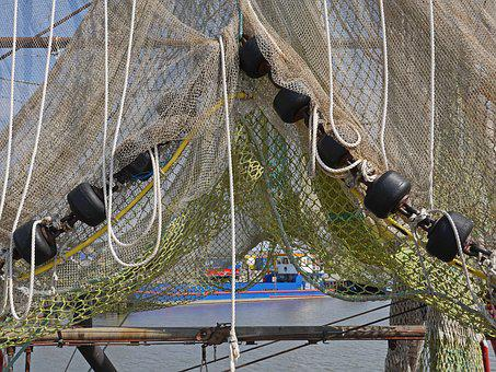 Fishing Net, Dry, Gathered, Weights, Port, Sielhafen