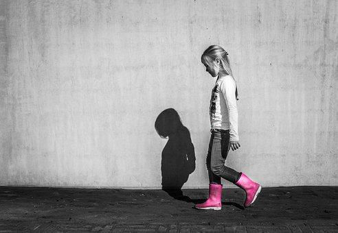 Little, Girl, Walking, Shadow, Wall, Happy, Child