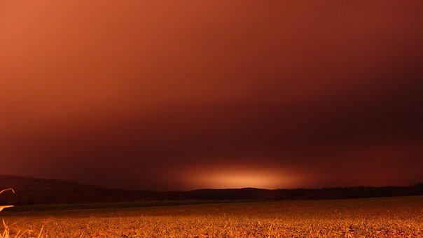 Field, Night, Sahara Dust, Strange Orange Sky