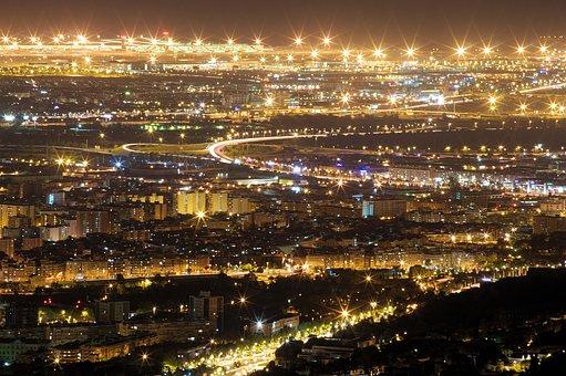 Barcelona, Night, Illuminated, Lights, Atmosphere