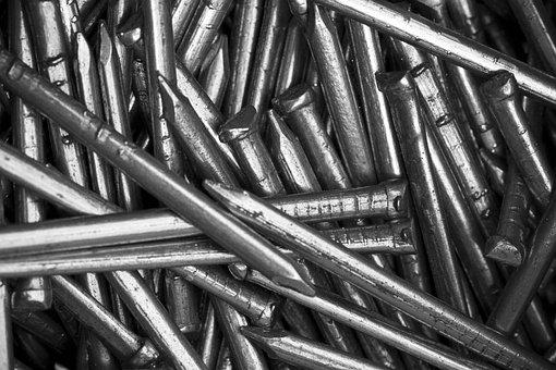Nails, Metal, Metallic, Steel, Shiny, Rivet, Industry