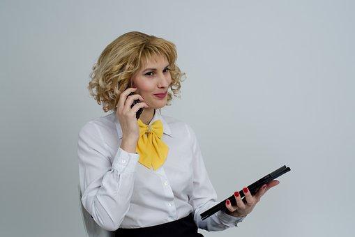 Business Woman, Telephone, Phone, Talking, Communicate